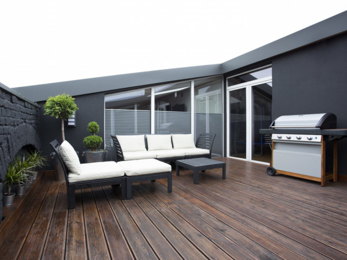 Grill on terrace with plants